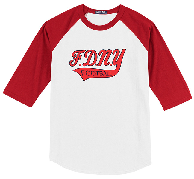 FDNY Bravest Football White & Red Short Sleeve Shirt