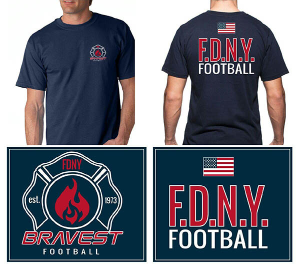 FDNY Bravest Football Short Sleeved T-Shirt